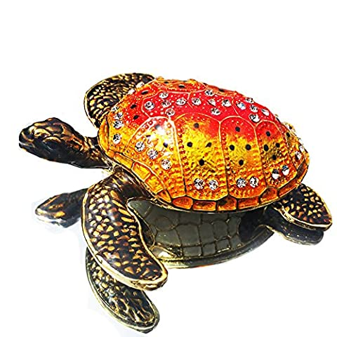 Waltz&F Turtle Figurine Collectible Hinged Trinket Box Bejeweled Hand-painted Ring Holder Mother`s day - Turtle Hinged Trinket Box