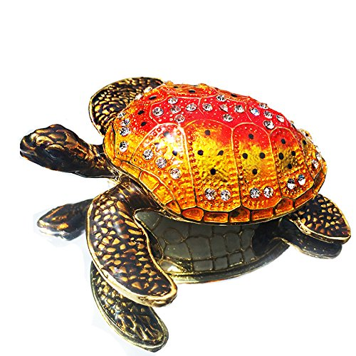Waltz&F Turtle Figurine Collectible Hinged Trinket Box Bejeweled Hand-painted Ring Holder Mother`s day Gift