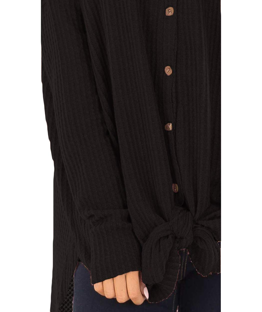 Eanklosco Tie Knot Tops Womens Waffle Knit V Neck Blouse Button Down Long Sleeve Henley Shirt (Black, M)