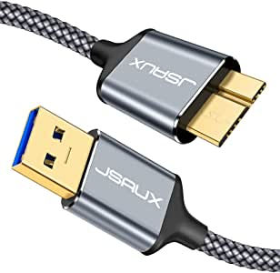 USB 3.0 Micro Cable, JSAUX 2 Pack (3.3ft+6.6ft) USB 3.0 A to Micro B Cable Charger Nylon Braided Cord Compatible with Samsung Galaxy S5, Note 3, Note Pro 12.2, Hard Drive, Camera etc. (Grey)