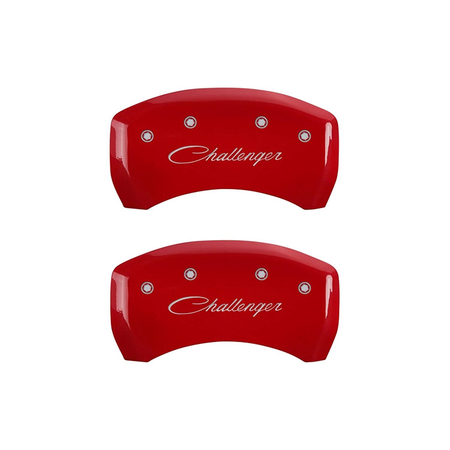 Set of 4 MGP Caliper Covers 12005SCLSRD Caliper Cover with Red Powder Coat Finish,