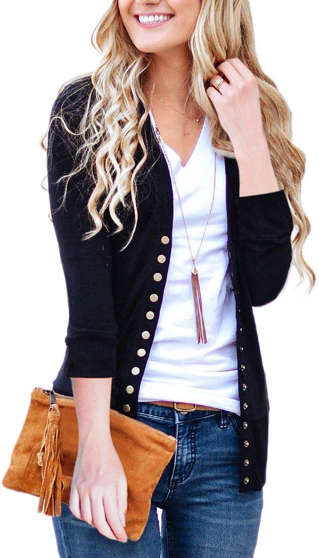 NENONA Women's V-Neck Button Down Knitwear Long Sleeve Soft Basic Knit Snap Cardigan Sweater(Black-3/4 Sleeve-XL)