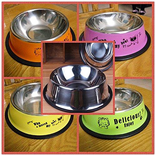 Hund Reisschüsseln Daikin grobe Hund Waschbecken Schalen Edelstahl pet Schale Katzen und Hunde und Katzen Schüssel essen Töpfe Pfannen Reisschüssel 5 Schüssel 29,5 cm Schüssel Base port 22cm_ Edelstahl rutschfest Schüsseln grün