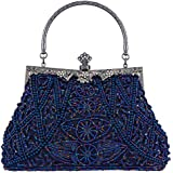 Bagood Women's Vintage Style Beaded And Sequined Evening Bag Wedding Party Handbag Clutch Purse, Mine Blue, One Size