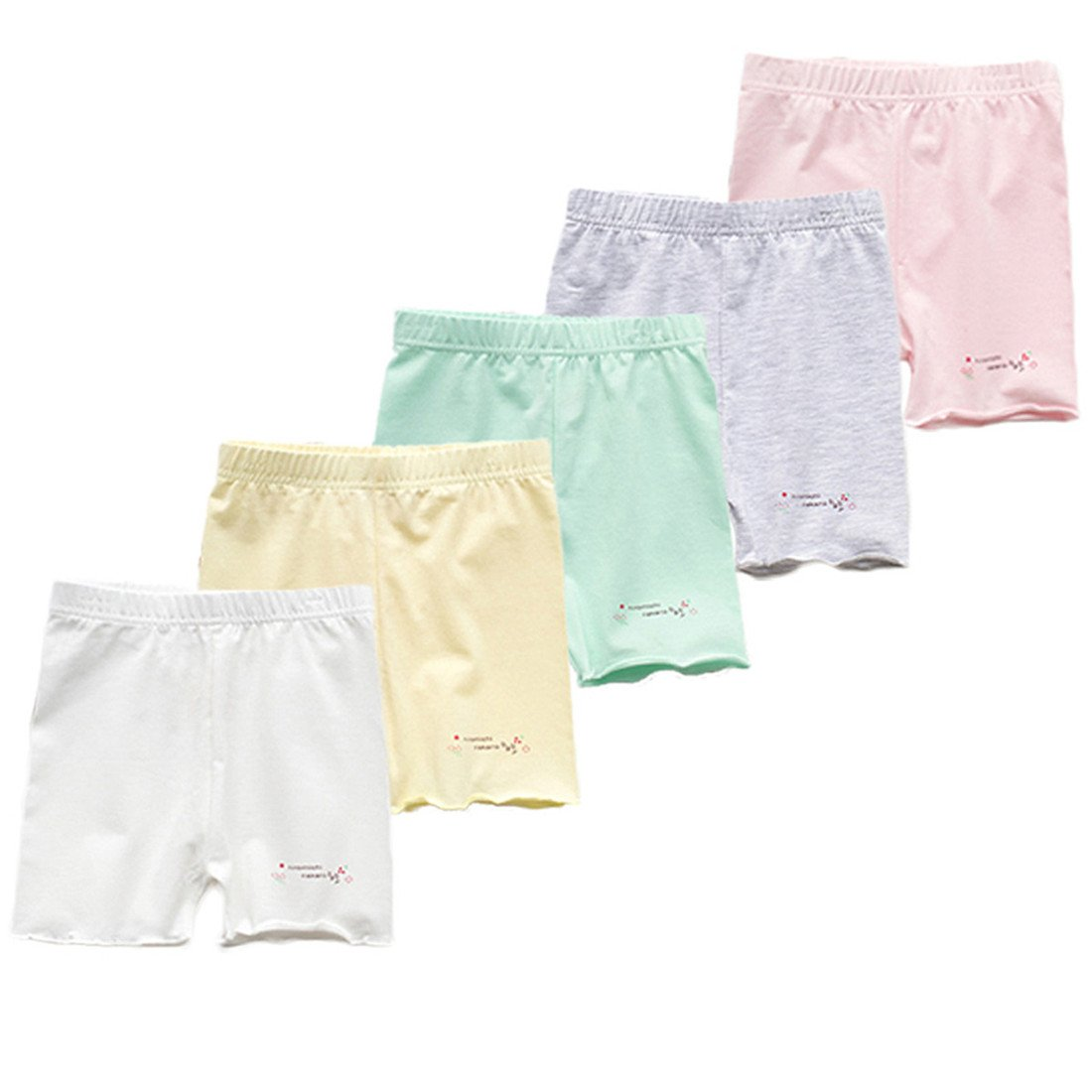 FAIRYRAIN Little Girls Kids 5 Pcs Candy Color Gymnastics Slim Elastic Safety Bike Short Panties