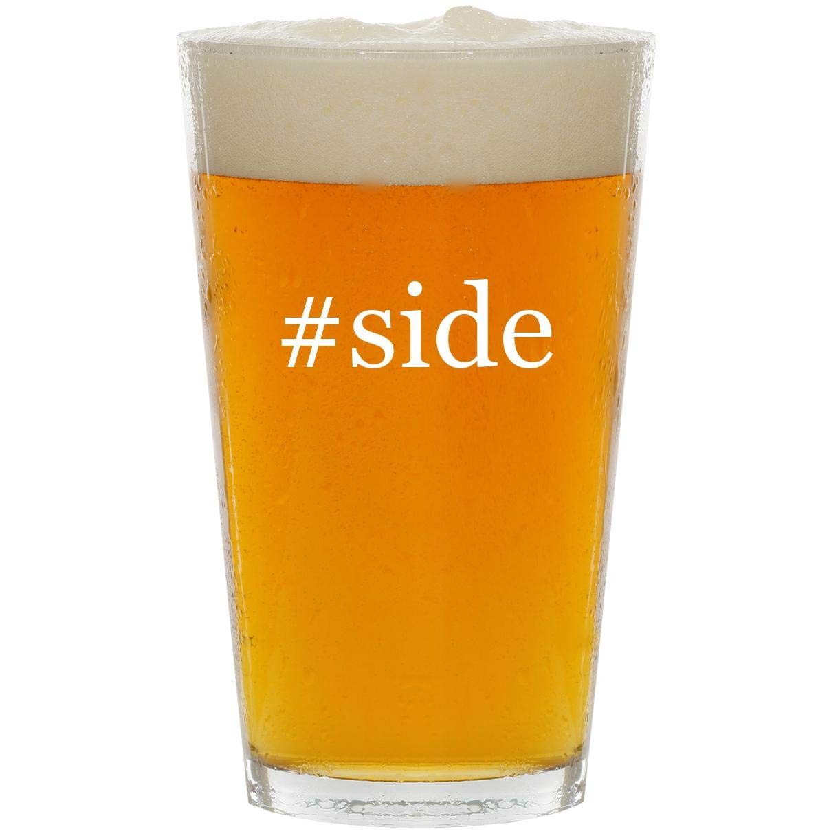 #side - Glass Hashtag 16oz Beer Pint