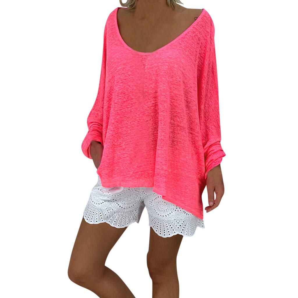 Damen Langarm T-Shirt Oberteile Oversized Top Rundhals Ausschnitt Lose Bluse Langarmshirts Hemd Pullover Sweatshirt Oberteil Tops Shirts