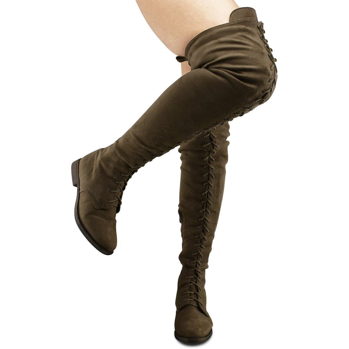 Premier Standard -Women's Lace Thigh High Over The Knee Riding Boots - Side Zipper Comfy Vegan Suede, TPS Isla-45 Taupe Size 7.5