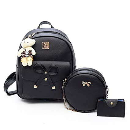 e794edfa0fe9 Amazon.com  Girls Bowknot 3-Pieces Fashion Leather Backpack Mini ...