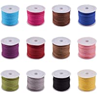 PandaHall Elite 6 Rolls 3mm Lace Faux Leather Suede Beading Cords Velvet String 5.5 Yard per Pack 6 Mixed Colors 3