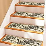 Soloom Carpet Stair Treads Non Slip Set of 13 Indoor Skid Resistant Stair Treads Rugs Rubber Backing,30''x8'',Beige