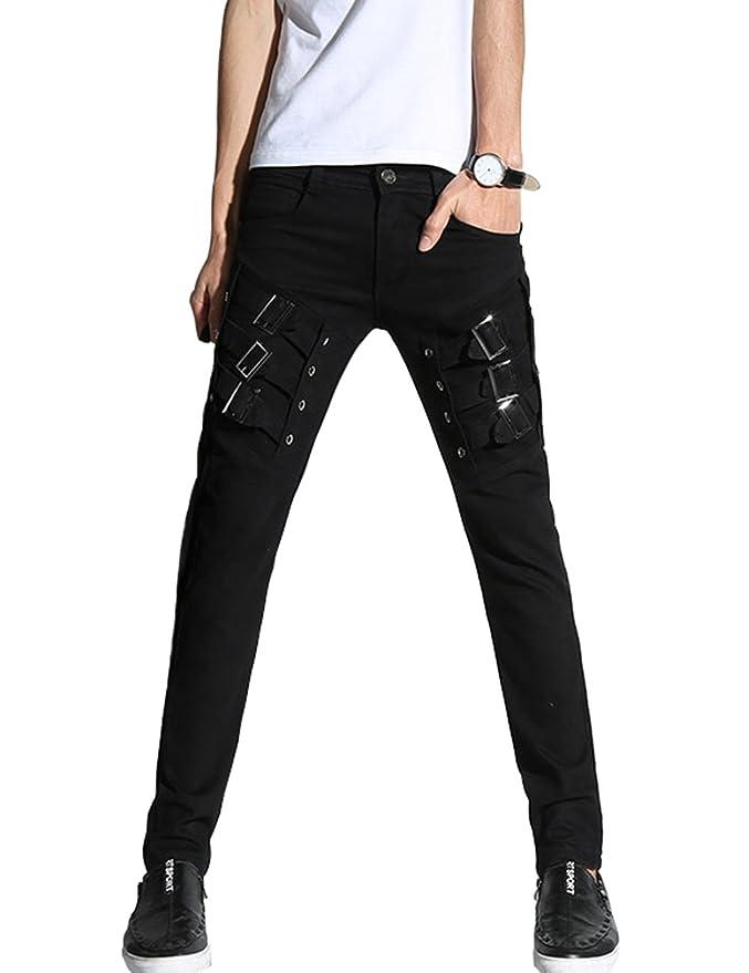 Men's Steampunk Pants & Trousers DSDZ Mens Motocycle Hip Hop Skinny Rock Punk Pants $28.99 AT vintagedancer.com