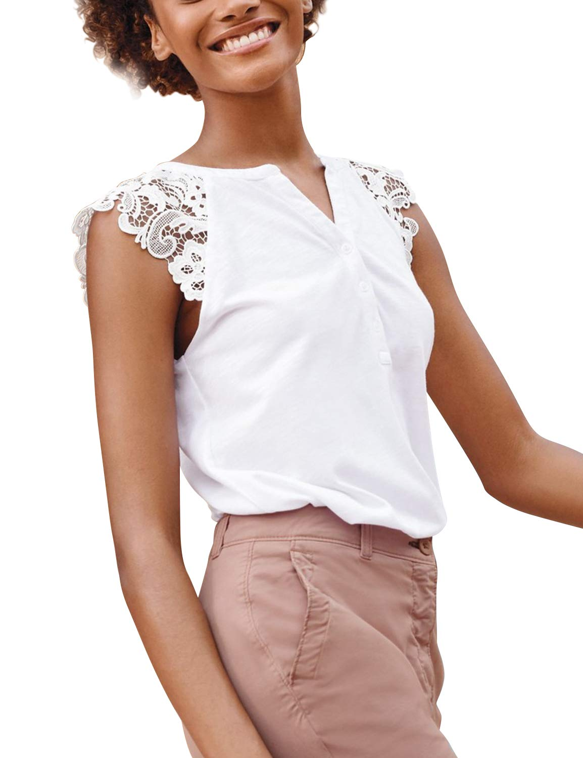 Blooming Jelly Women's Lace Short Sleeve V Neck Button Top Blouse White