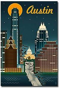 "Austin Texas Retro Skyline Travel Refrigerator Magnet Size 2.5"" x 3.7"""