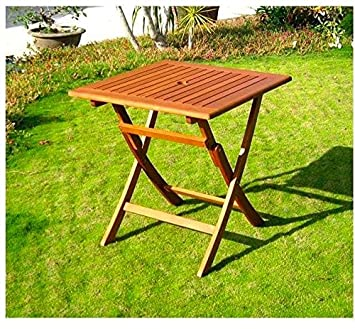 Amicasa Table De Jardin Pliante En Bois Table Carrée 70 X