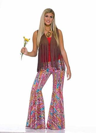 Hippie Schlaghose Gelb für Mädchen Kinder Hose zum Retro 70er Jahre Party Kostüm
