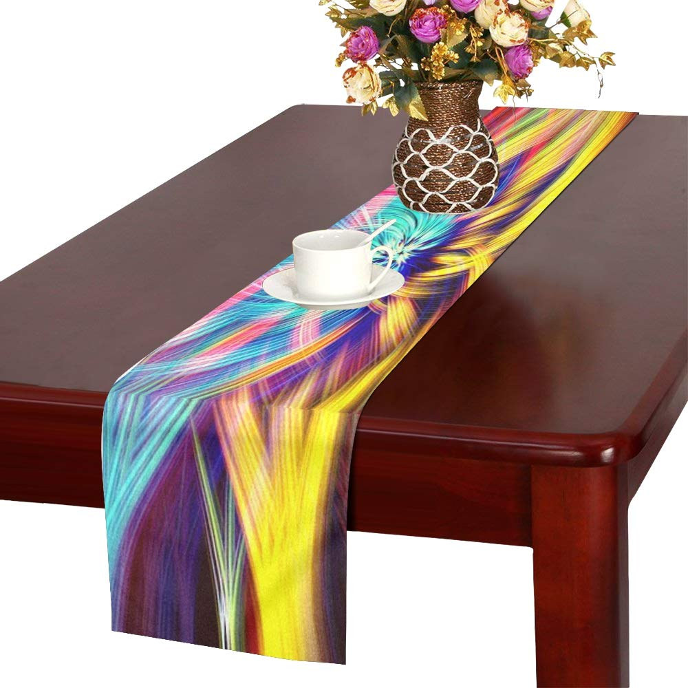 Colorful Chakra Lsd Spirituality Colored Table Runner, Kitchen Dining Table Runner 16 X 72 Inch For Dinner Parties, Events, Decor