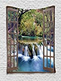 Ambesonne House Decor Tapestry Wall Hanging, Wide Waterfall Deep Down in The Forest Seen from A City Window Epic Surreal Decorative Print, Bedroom Living Room Dorm Decor, 60 W x 80 L inches, Multi