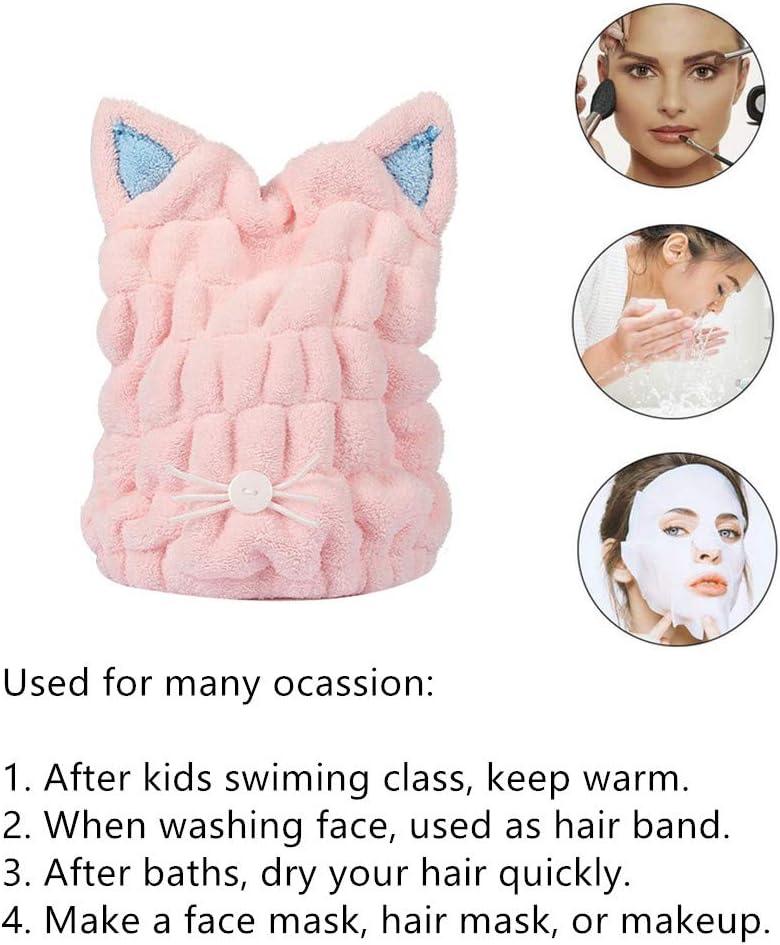 Myqiqi Kids Fast Drying Hair Wrap Cap 2 Pcs Cute Cartoon Cat Pattern Drying Hair Towel for Children