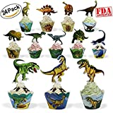 Dinosaur Party Supplies Cupcake Toppers and Wrappers 24 Pack Cupcake...