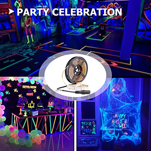 Onforu 33ft LED UV Black Light Strip Kit, 600 Units UV Lamp Beads, 12V Flexible Blacklight Fixtures, 10m LED Ribbon, Non-Waterproof for Indoor Fluorescent Dance Party, Stage Lighting, Body Paint by Onforu (Image #4)