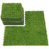 QYH Artificial Grass Tile Interlocking Floor Tiles Grass Deck Mats Tile Fake Grass Turf Synthetic Grass Carpet for Indoor Outdoor Patio Flooring 1'x1' (9 Pieces)