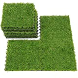 QYH Artificial Grass Tile Interlocking Floor Tiles Grass Deck Mats Tile Fake Grass Turf Synthetic Grass Carpet for Indoor Outdoor Patio Flooring 1'x1' (9 Pieces)