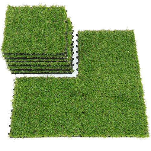 QYH Artificial Grass Tile Interlocking Floor Tiles Grass Deck Mats Tile Fake Grass Turf Synthetic Grass Carpet For Indoor Outdoor Patio Flooring 1