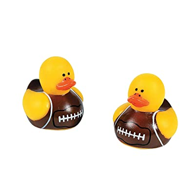 Fun Express Mini Football Rubber Ducks (Set of 24) Rubber Duckies-Tabletop Decor Accents, Party Favors, Novelty Gifts: Toys & Games