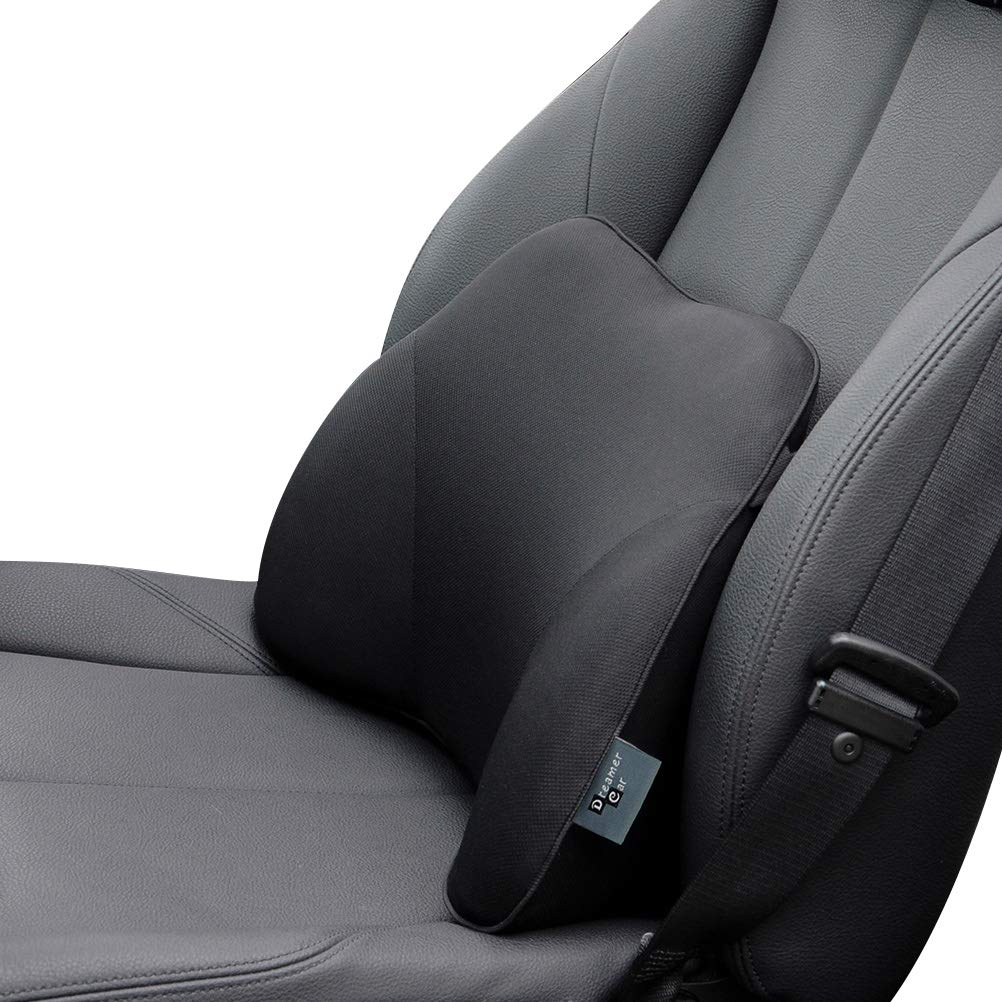 Dreamer Car 17.7X11-Inch Mid-hard Memory Foam Lower Back Lumbar Support Cushion Pillow with Adjustable Strap for Back Pain Relief for Car, Black
