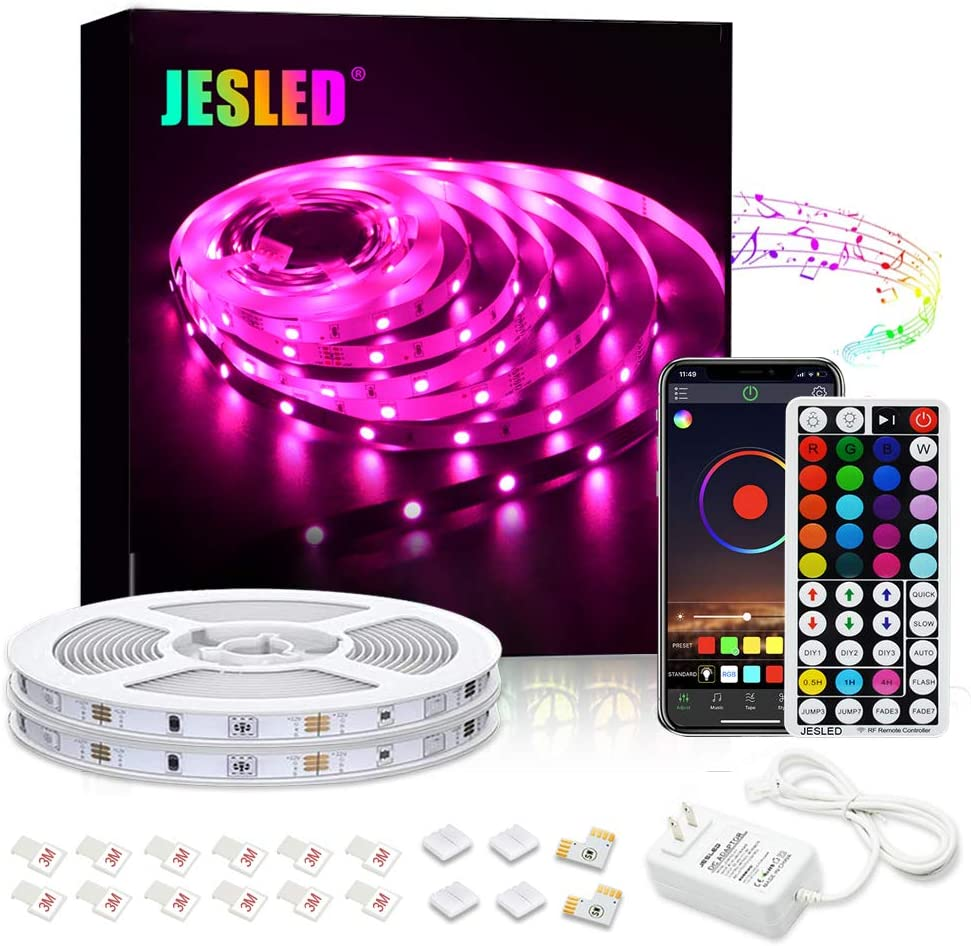 JESLED Bluetooth LED Light Strip, 32.8ft/10M Color Changing LED Strip Lights for Bedroom, Music Sync Smart RGB Neon Lights Strip with RF Remote, Rope Light for TV Home Kitchen Cabinet Party Decoration