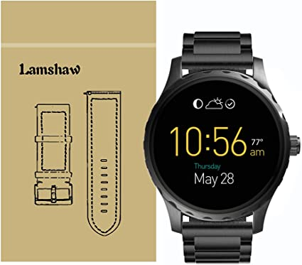Smartwatch Band for Fossil Q Marshal Gen 2, Lamshaw Stainless Steel Metal Replacement Straps for Fossil Q Marshal Smartwatch Gen 2 (Black)