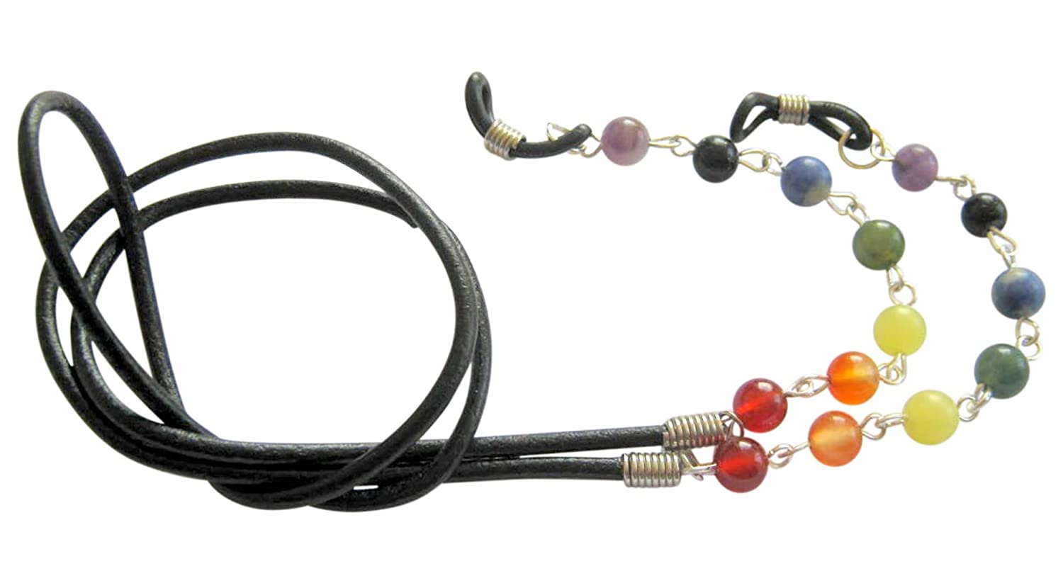 ~9 CHAKRA~ GEMSTONE AND LEATHER EYEGLASS GLASSES SPECTACLES CHAIN HOLDER CORD DELLENRO