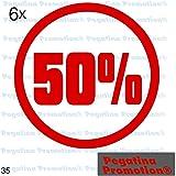"""6er Set Aufkleber Schaufenster """"50%"""" Reduziert Ausverkauf Schlussverkauf Sale WSV SSV ca. 20 cm Aufkleber Sticker Schaufensterwerbung Werbung Deko von Pegatina Promotion ®"""