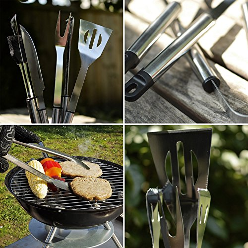 Flamen Bbq Tools Set, 13-Piece Grill Tools Set With 1 Aluminum Case, Heavy Duty Stainless Steel Barbecue Premium Grilling Utensils Accessories for Barbecue Spatula Tongs Fork Skewer and Basting Brush by Flamen (Image #4)