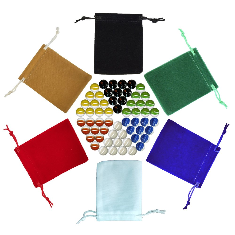 Chinese Checkers Marbles, Glass Replacement Game Marbles, Set of 60, 10 of each color, with 6 Small Velvet Drawstring Pouches and 1 Large Velvet Drawstring Pouch of (14mm)