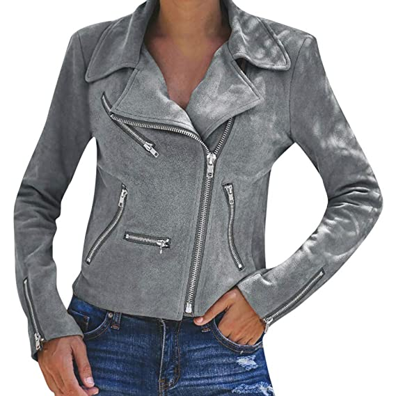 StyleV-shirts Womens Zip up Biker Moto Jacket Autumn Retro Rivet Notched Lapel Coat Outwear
