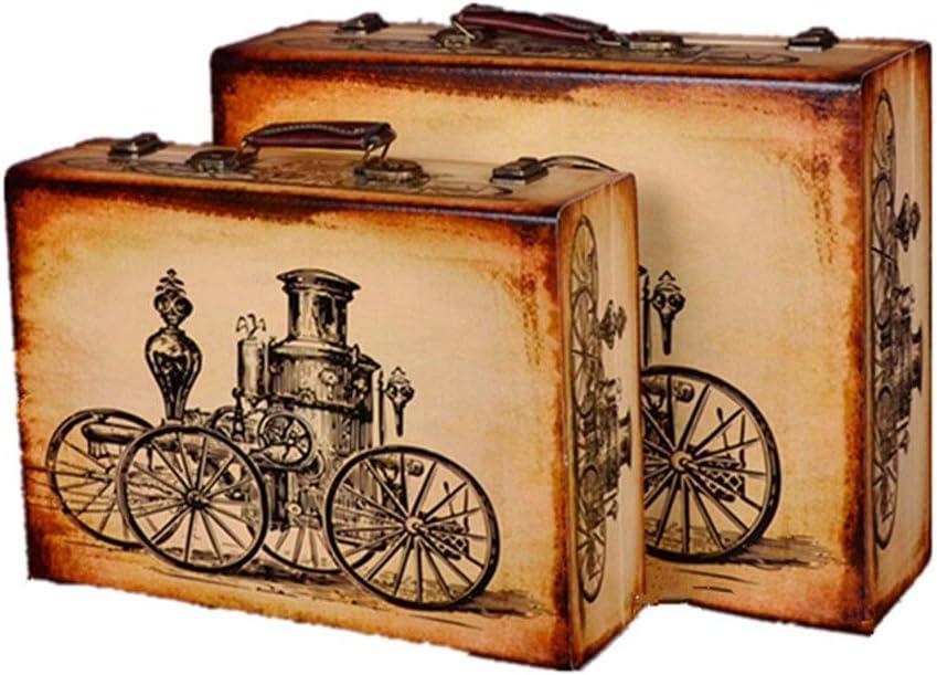 Maleta retro Almacenamiento de la vendimia caja maleta de equipaje de la vendimia Conjunto De 2 Maleta Maleta de almacenamiento del tesoro en el pecho for la decoración casera de la vendimia (Color: B