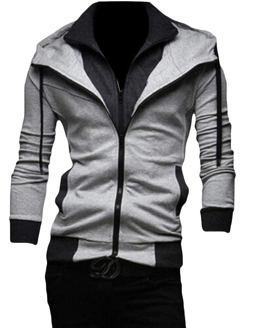 YUNY Mens Light Weight Long Sleeve Autumn Casual Fit Hood Jacket Light Grey L