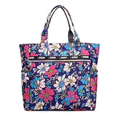 Women's Nylon Floral Multi Pocket Top Handle Tote Handbags Bag Shoulder Bag Shopping Bags