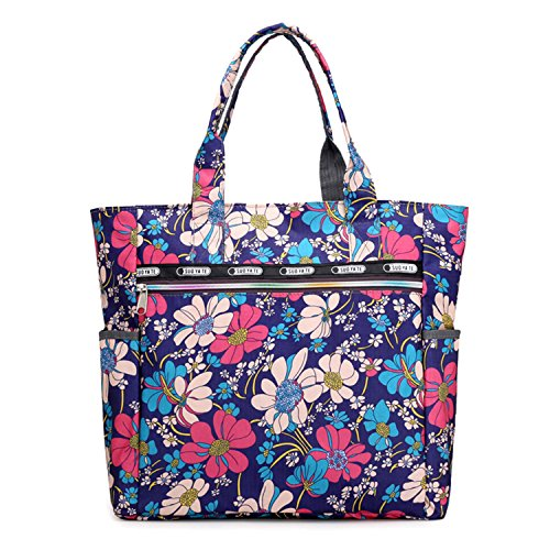 Women's Canvas Nylon Floral Multi Pocket Top Handle Tote Handbags Bag Shoulder Bag Shopping Bags