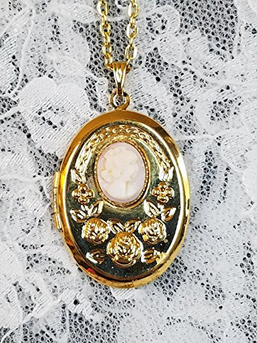 (Goldtone Pink Shell Carved Cameo Locket Necklace)