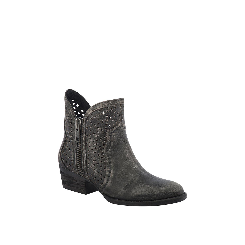 Corral Urban Women's Laser Cutout Distressed Black/Grey Leather Shortie Cowboy Boots B01EWZXCD0 7 B(M) US|Black