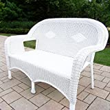 "53.5"" Bright White Stylish Outdoor Patio Resin Wicker Love Seat"