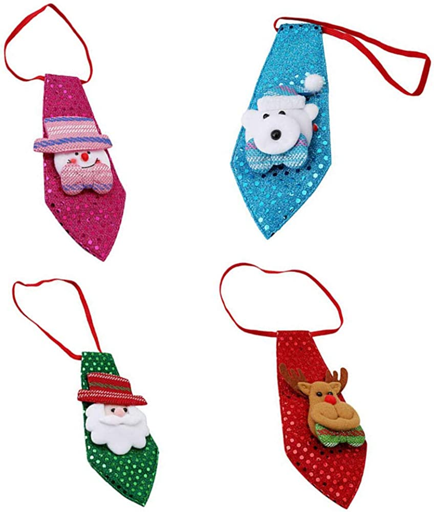Booluee 4 Pack Christmas Children Tie Neckties, Boy's Christmas Tie, Sequin Holiday Necktie for Christmas Party Costume Accessories: Clothing