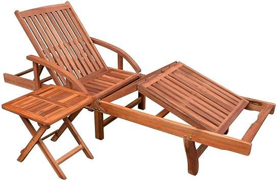 GJR-JJ Juego de tumbonas Tumbona de Madera reclinable Ajustable con Mesa Plegable Silla de jardín Tumbona Juego de Mesa Silla de Playa con Tumbona para Patio: Amazon.es: Deportes y aire libre