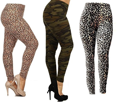 1f7e28f5e7ca0 david collection Always Womens Plus Size Animal Print Leggings One Size  Fits All- Fits 1