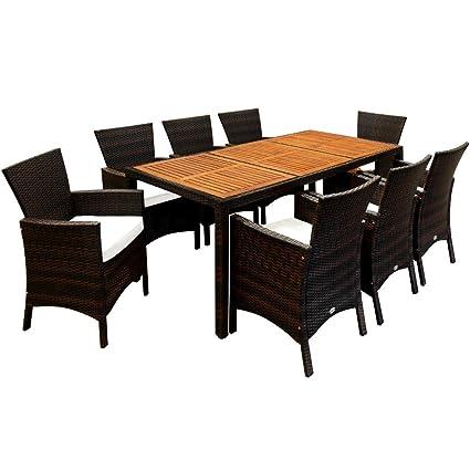 Deuba Poly Rattan Sitzgruppe Braun 7cm Dicke Auflagen 8 Breite Stuhle 1 Tisch Akazienholz Gartenmobel Lounge Set