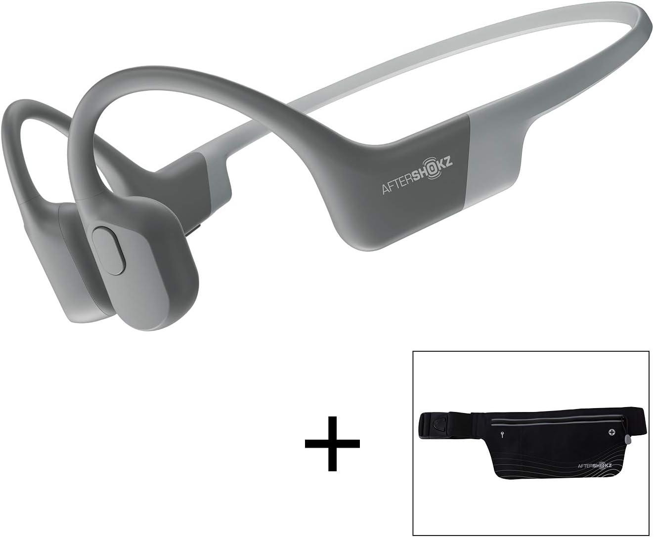 AfterShokz Aeropex, Auriculares Deportivos Inalámbricos con Bluetooth 5.0, Tecnología de Conducción Ósea, Diseño Open-Ear, Resistente al Polvo y al Agua IP67,Lunar Grey