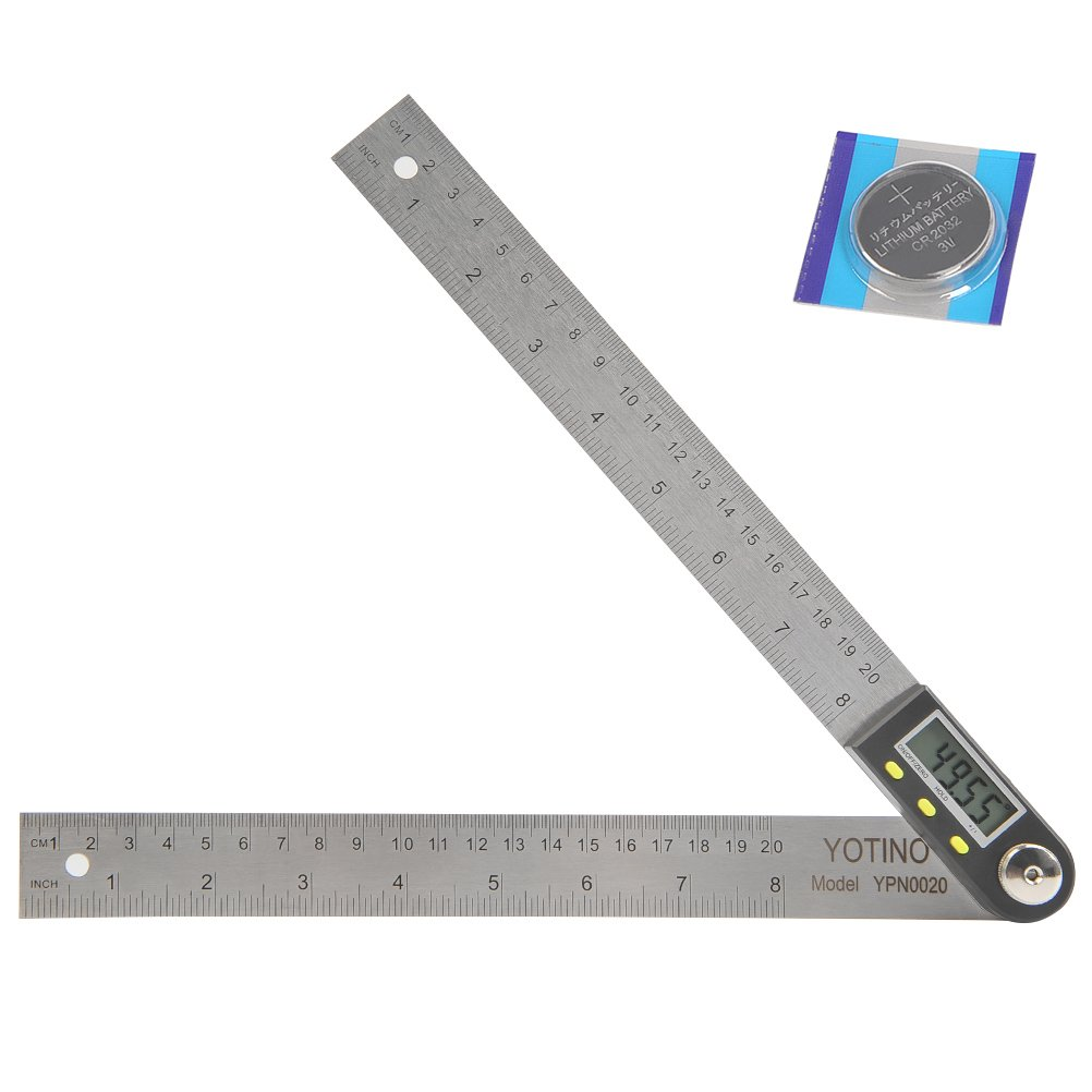 YOTINO 8inch 200mm Digital Angle Finder Ruler, Digital Protractor with Zeroing/Hold/Unit Conversion for Constructions, Woodworking and Drawing (Stainless Steel)